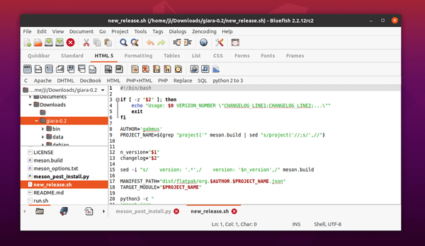 Bluefish Editor 2.2.12 released with improved Python 3 compatibility