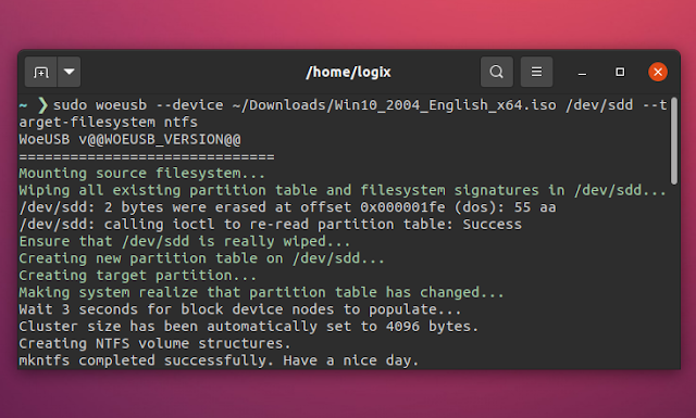 New WoeUSB command line