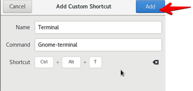 Create shortcut to open terminal