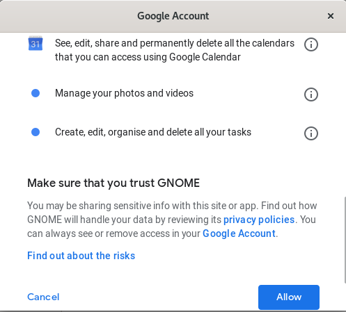 Allow access to Google account