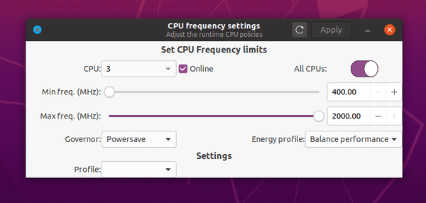 cpupower-GUI – A simple graphical tool for adjusting CPU frequency