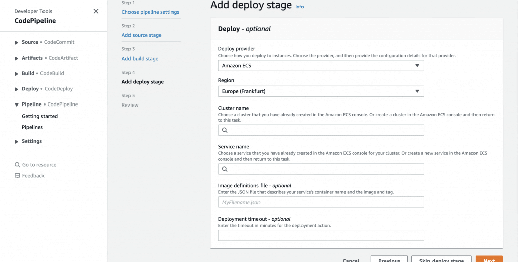 AWS ECS: Use CodePipeline to automatically update ECS services