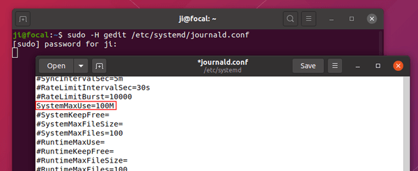 Free up disk space – clear Systemd journal logs on Ubuntu 20.04