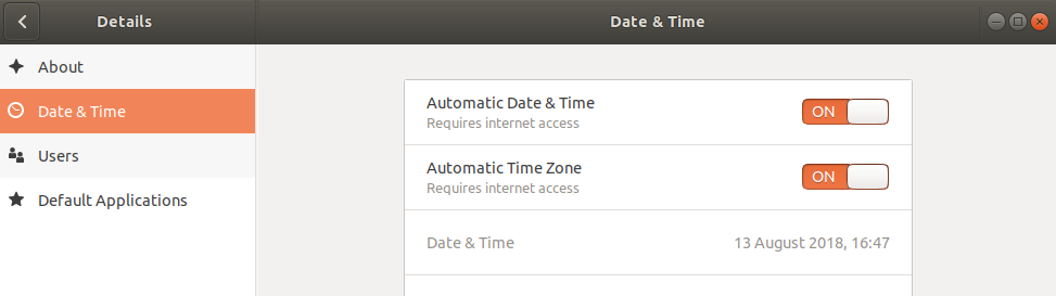Automatic date and time synchronization