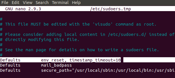 Change the sudo timeout from 15 to 10 minutes