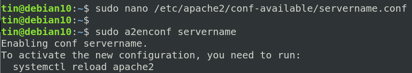 Restart apache to apply the changed configuration