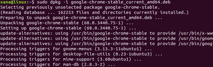 Install Chrome .deb package using sudo and apt