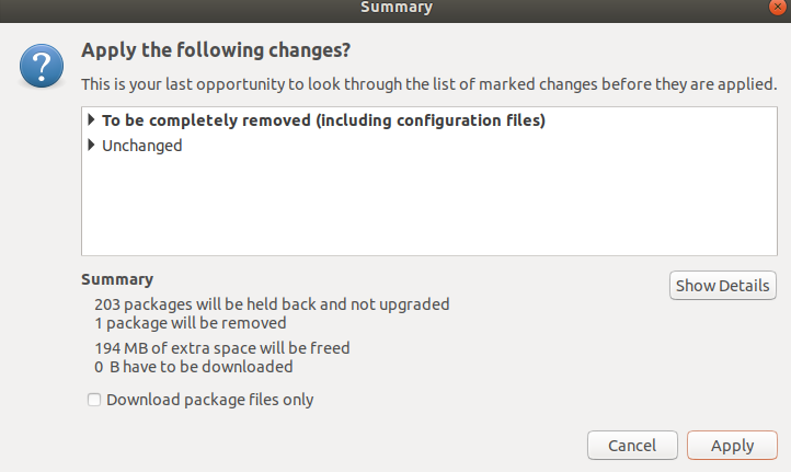 Apply package changes