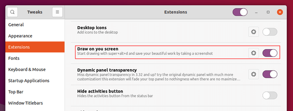 How to start drawing on the screen on Ubuntu 20.04 or later