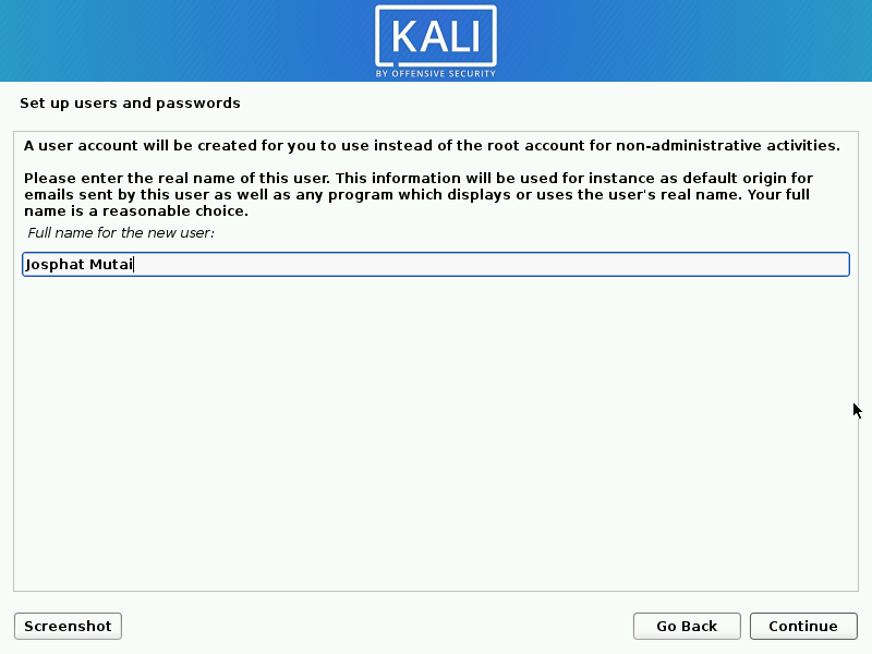 Install kali linux complete step 08