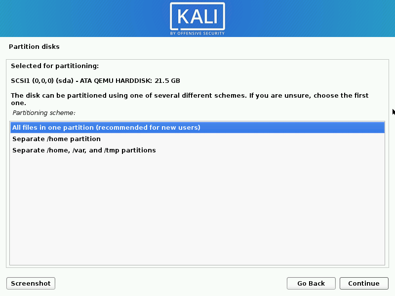 Install kali linux complete step 14