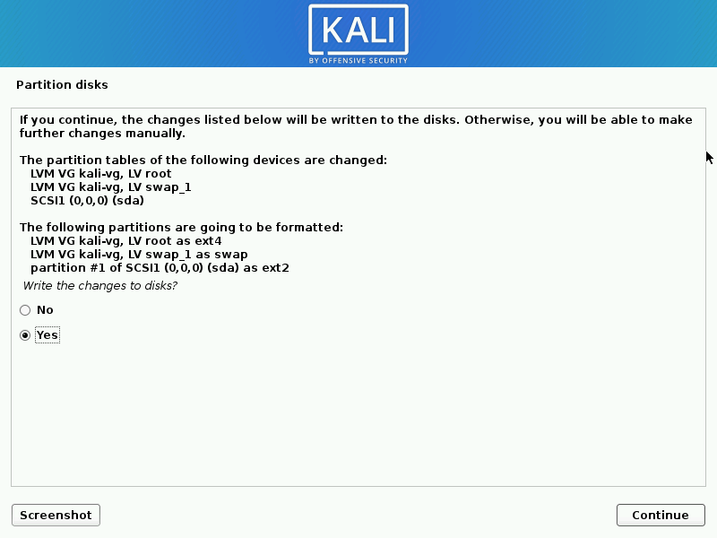 Install kali linux complete step 17
