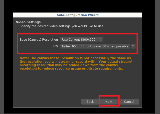 Select screen resolution and frame rate