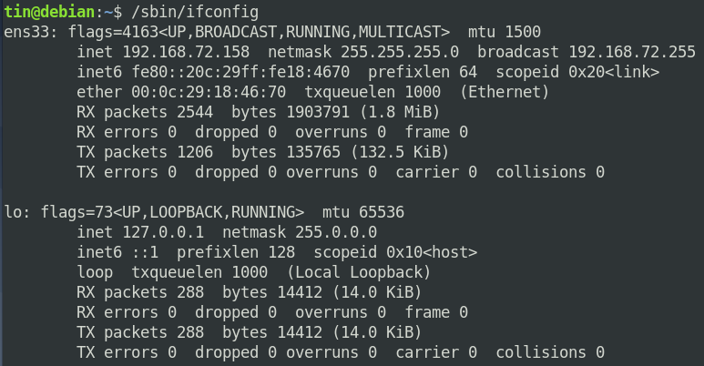 Ifconfig command result