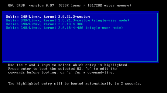 Boot to the new kernel