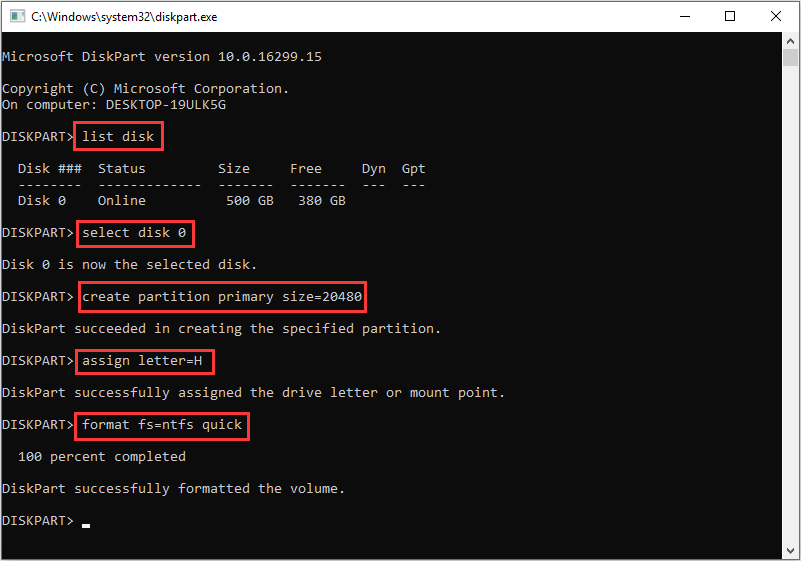 Diskpart commands to create a new partition