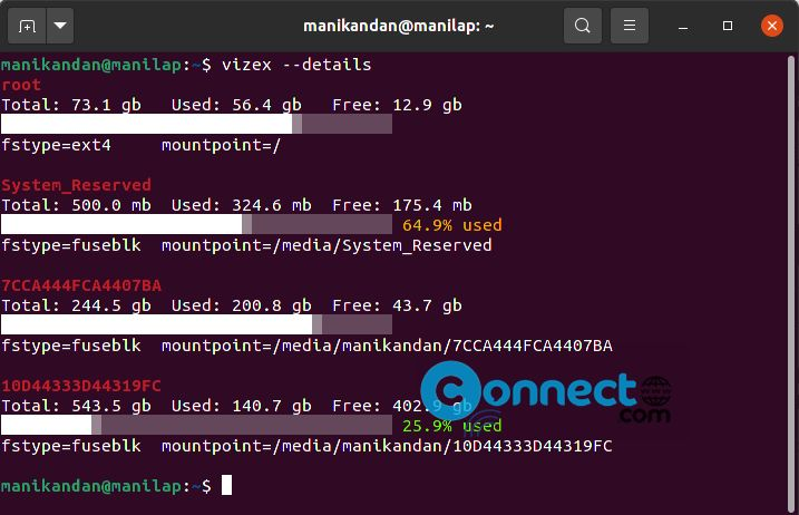 Use Vizex to visualize terminal disk space and usage
