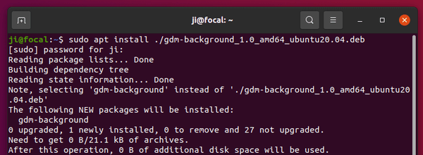 Change the background of the Ubuntu 20.04 login screen via a graphical tool