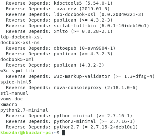 List of package dependencies displayed by apt-rdepends command
