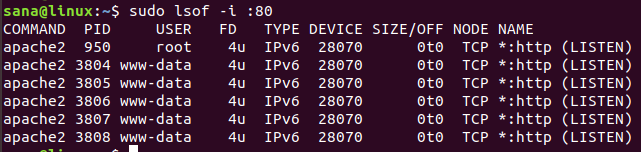 Check which application is using port 80 using lsof
