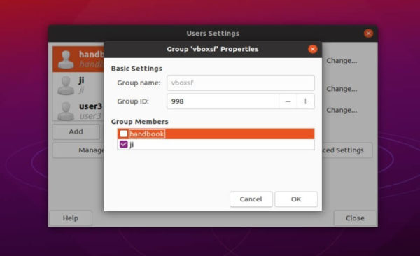 Manage users and groups on Ubuntu through classic graphical tools